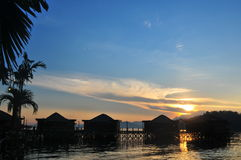 Malaysia water bungalow Stock Photo