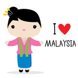 Malaysia Woman National Dress Cartoon Vector Stock Image