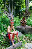 Malaysian aborigines in national costumes Stock Photo