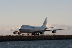 Malaysian Airlines Boeing 747 on runway. Malaysian Airlines Boeing 747 jumbo jet on the runway in Sydney, Australia Royalty Free Stock Image
