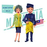 Malaysian couple character design on traditional costume. say `Hello` in any lan. Illustration Royalty Free Stock Image