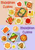 Malaysian cuisine dinner dishes icon set design Royalty Free Stock Photos