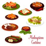 Malaysian cuisine dinner icon with asian dessert. Baked fish with rice, grilled chicken and meat pancake roll, ginger chicken with vegetable, lamb and potato vector illustration