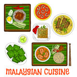 Malaysian cuisine dinner served on banana leaves Royalty Free Stock Image