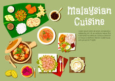 Malaysian cuisine dishes and tasty desserts Stock Image