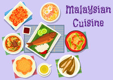 Malaysian cuisine fish and meat dishes icon Royalty Free Stock Photo
