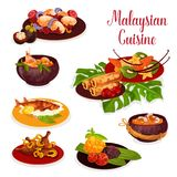 Malaysian cuisine icon with exotic dinner dish. Malaysian cuisine icon of dinner with exotic fruit dessert. Rice with chicken curry, beef stew rendang and vector illustration
