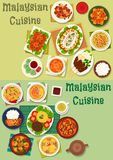 Malaysian cuisine icon set for healthy food design Royalty Free Stock Photo