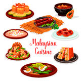 Malaysian cuisine restaurant menu with asian food Stock Images