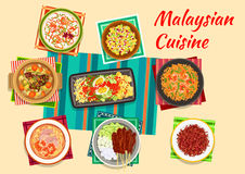 Malaysian cuisine traditional dinner icon. Malaysian cuisine icon with vegetable and egg salad, meat skewers satay with peanut sauce, pineapple and cucumber Royalty Free Stock Images