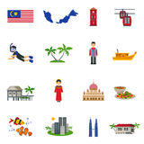 Malaysian Culture Symbols Flat Icons Set Stock Photo