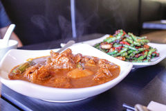 Malaysian curry beef with green beans Royalty Free Stock Photo