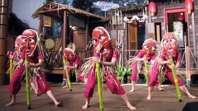 Malaysian dancers. In a show masked Stock Photography