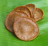 Malaysian Delicacies Kuih Cucur Jawa. On Banana Leaf Stock Image