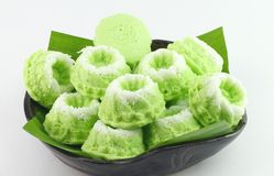 Malaysian Delicacies Kuih Puteri Ayu fragrant with pandan. ( screwpine leaf ) on Banana Leaf Royalty Free Stock Photo