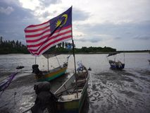 Malaysian flag on the boat stock video