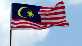 Malaysian Flag Fluttering In The Wind stock footage