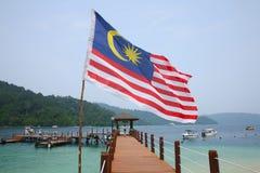 Malaysian flag on Manukan Island Royalty Free Stock Image