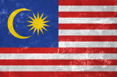 Malaysian Flag. Malaysia - Malaysian Flag on Old Grunge Texture Background stock images