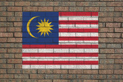 Malaysian flag on wall Royalty Free Stock Photo