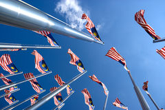 Malaysian Flags. Image of Malaysian flags, also known as Jalur Gemilang, flying high Royalty Free Stock Photo