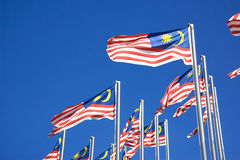 Malaysian Flags. Image of Malaysian flags, also known as Jalur Gemilang, flying high stock images