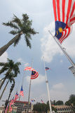 Malaysian flags at half mast following MH17 incident Royalty Free Stock Photography