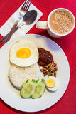 Malaysian Food - Nasi Lemak and Frothy Teh Tarik on a red backgr Royalty Free Stock Photography