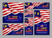 Malaysian Independence day celebration posters. Set. 31th of August felicitation greeting vector illustration. Realistic backgrounds with malaysian flag royalty free illustration