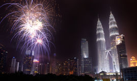 Malaysian Independence Day 2013 - Fireworks at KLCC Royalty Free Stock Photography