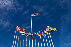 Malaysian and International Flags Stock Image