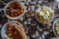 Malaysian local traditional food in Hari Raya Aidilfitri. Malaysian local traditional food, lemang, ketupat, ketupat palas and other eat during eid mubarak or stock image