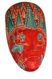 Malaysian mask left face. Red and green malaysian mask left face Stock Photos