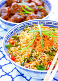 Malaysian meal. With meat dumplings and fried rice Stock Image