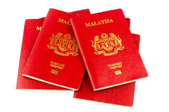 Malaysian Passports on White Background Royalty Free Stock Images