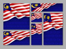 Malaysian patriotic festive banners set. Realistic waving malaysian flag on blue background. Independence, democracy and freedom vector layouts. Malaysia Stock Photos