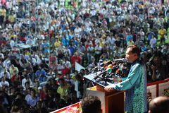 Malaysian politician Anwar Ibrahim giving a speach Stock Image