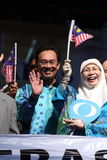 Malaysian politician Anwar Ibrahim waving Stock Photos