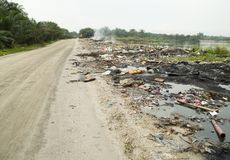 Malaysian reality: polluting trash in nature Stock Image