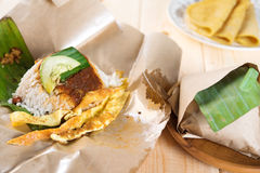 Malaysian rice nasi lemak. Stock Photography