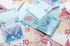 Malaysian Ringgit. Close up Malaysia ringgit of 1, 10 and 50 Royalty Free Stock Photos