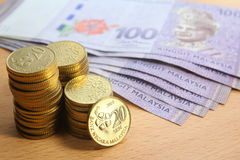 Malaysian ringgit coins and bank notes Stock Photography