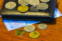 Malaysian ringgit coins and notes Stock Photography