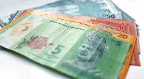 Malaysian ringgit currency on white background. With shadow Stock Photos