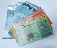 Malaysian ringgit currency on white background Stock Image