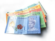 Malaysian ringgit currency. On white background with shadow Royalty Free Stock Photos