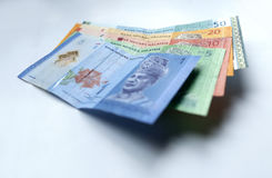 Malaysian ringgit currency. On white background with shadow Stock Photo