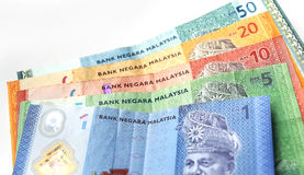 Malaysian ringgit currency on white background. With shadow Royalty Free Stock Photography