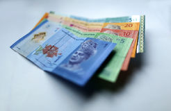 Malaysian ringgit currency on white background. With shadow Stock Photo