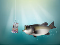 Malaysian ringgit money paper on fish hook. Fishing using malaysian ringgit cash as bait, malaysia investment risk concept idea Royalty Free Stock Images
